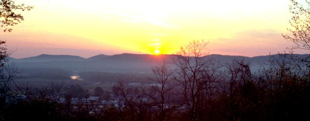 An early March sunrise over a range of seven hills as viewed from the Thomas Worthington estate, like the event more than two centuries ago that inspired the Great Seal of the State of Ohio