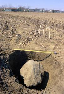 Dug out of a field, a three-foot-long coulder site in a hole with ranch houses in the background