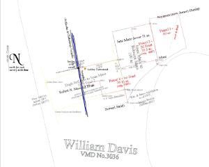 line map showing intersecting and interwoven property lines with lettering indicating owners