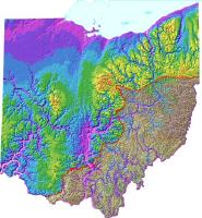 Map of Ohio showing the bedrock elevations, with everything atop removed - and the Teays Valley is clearly evident